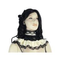 Kragen, Halsband mit Rüschen Spitze für gotische braut 0670