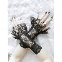 Fingerlose Armstulpen mit Rüschen für eine gotische hochzeit 0960