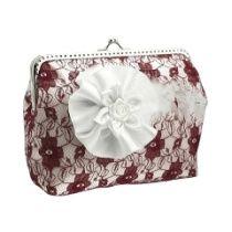 Damen Handtasche, Brauttasche, clutch mit Stoff Blume für Braut zur hochzeit 0930