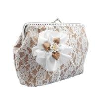 Damen Handtasche, Brauttasche, clutch mit Stoff Blume für Braut zur hochzeit 1280
