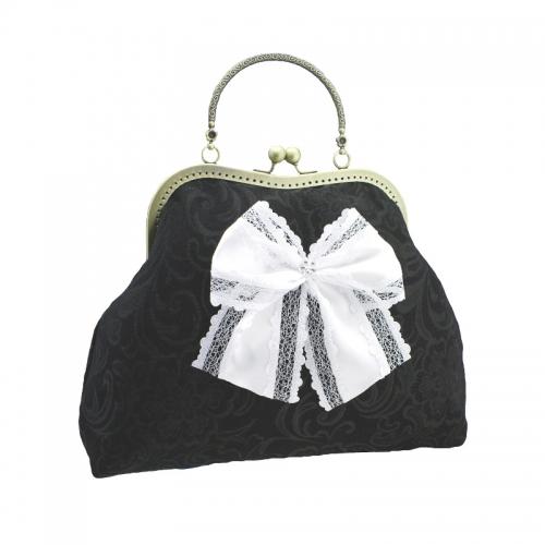 1106abendtasche & griff metall, handtasche aus stoff mit texturierten hat bogen, stil burlesque für damen, weiß &