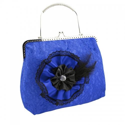 1183abendtasche & griff metall, handtasche aus satin & spitze hat stoffblume für damen, blau & schwarz 1495