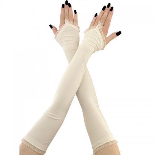1238extralange handschuhe, armstulpen aus stoff für braut hochzeit, damen, elfenbein 1730