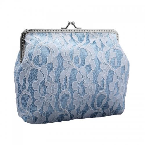 1312handtasche, brauttasche clutch & kette aus satin & spitze für braut hochzeit, damen, blau & weiß 1535