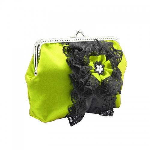 1332abendtasche, handtasche clutch & kette aus satin & spitze hat stoffblume für damen, gelb & schwarz 1695