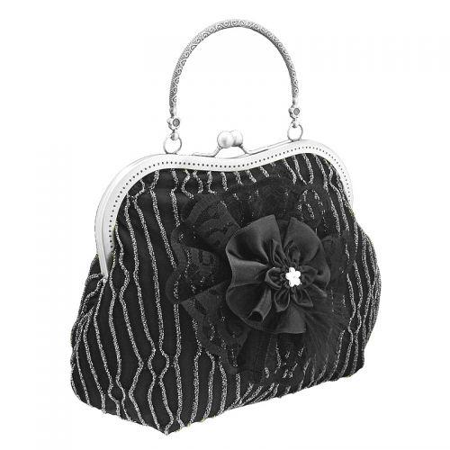1373abendtasche & griff metall, handtasche aus stoff mit lurex hat stoffblume, stil burlesque für damen, silber &