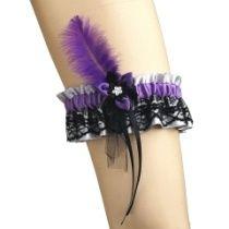 Strumpfband aus Satin und Spitze mit Stoffblume für burlesque 0015