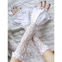 Hochzeit  Handschuhe Fingerlose Armstulpen mit Rüschen 0060
