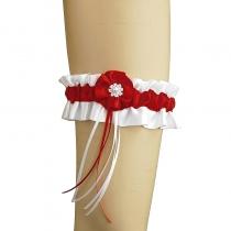 Strumpfband aus Satin mit Stoffblume für Braut zur Hochzeit 0215