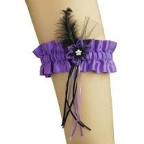 Strumpfband Satin mit Stoff Blume für burlesque 0345