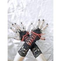 Handschuhe ohne Finger mit Korsett Schnürung für gotische braut 0480